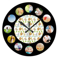 Baby Safari Theme Photo Collage Large Clock find more personalized clocks at www.mouseandmarker.com