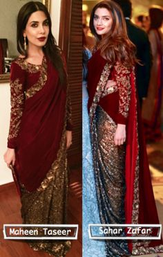 WHO WORE IT BEST: MAHEEN TASEER VS. SAHAR ZAFAR Trendy Sarees, Stylish Sarees, Pakistani Outfits, Indian Outfits, Desi Wedding Dresses, Wedding Outfits, Dress Wedding, Indian Attire, Indian Wear