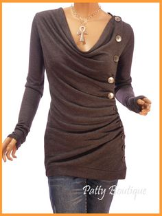 Gray Cowl Neck Button Embellished Ruched Blouse Top
