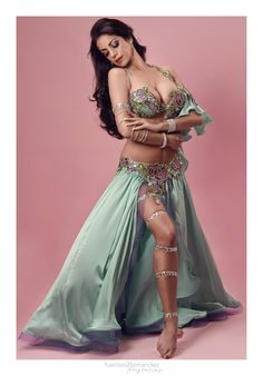 Rose bra and belt with sea foam skirt | What I like about this the most is the leg wrap