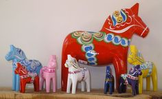 New Dala horses; folk painting similar to: Narrow boat painting, or canal art, a traditional British folk art.  This highly decorative folk art once adorned the working narrow boat...