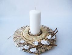 Candle holder  White Flowers Candle holders by TheSecretGardenn