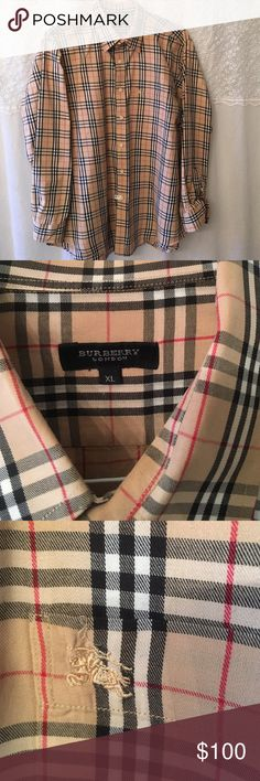 Signature Burberry London XL flannel button up! ❤ Freshly pressed and gently worn, Burberry London button up! Beautiful and classic Burberry, unisex and looks so great with boots and distressed high waisted jeans and tank. It was my husband's but I took over it, lol! Used maybe a handful of times and has a lot of life left! OFFERS WELCOMED! Burberry Tops Button Down Shirts