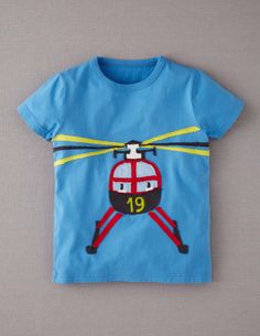 EVERETT: Helicopter Applique Vehicle T-shirt 4-5Y (goes awesome w/ the navy/snail baggies)