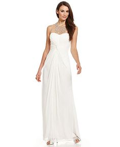 Adrianna Papell Illusion Jewel-Neck Ruched Gown - Dresses - Women - Macy's