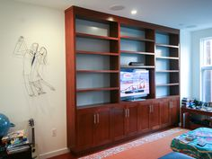 Cherry and Grey Built-In TV Bookcase - Springhouse Shop u0026 Studio