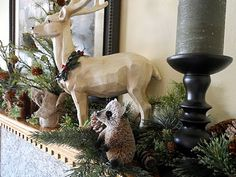 Just Another Hang Up: If you can't beat 'em... - Woodland creature mantle with greenery