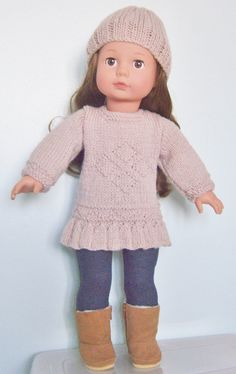 "Knitting pattern for 18"" doll, love this colour."