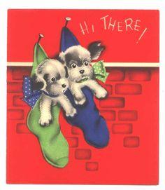 Vintage Christmas Card Vintage Dog Ephemera 1940s by ReTHINKinIt