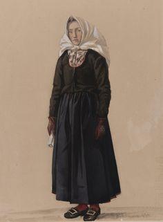 Kvinna i dräkt. Akvarell av P Södermark Nordiska Museet