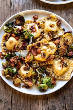 Brown Butter Brussels Sprout and Bacon Ravioli. The ravioli is good, but this recipe is all about the sauce, the sprouts, and the bacon. Cookbook Recipes, Pasta Recipes, Cooking Recipes, Healthy Recipes, Chickpea Recipes, Sausage Recipes, Turkey Recipes, Healthy Food, Perfect Mashed Potatoes