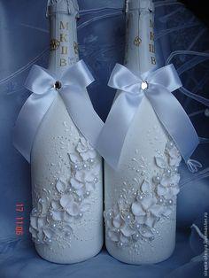 """Купить Оформление шампанского """"Белые цветы"""" - белый, свадебные аксессуары, свадебное шампанское, свадебный подарок"""
