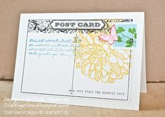"""Stamps: Postcard, Regarding Dahlias, Papillon Potpourri, By the Tide, Creative Elements Ink: Early Espresso, Crushed Curry, Pool Party, Island Indigo, Strawberry Slush Card stock: Very Vanilla Other: Postage stamp, 1"""" square and Bitty Butterfly punches, paper snips, stamp-a-majig"""