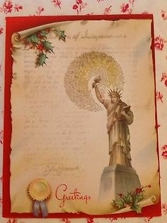 1dadab12042 Vintage 1940s Unused Christmas Card w  Statue of Liberty ~ New York ~ NYC