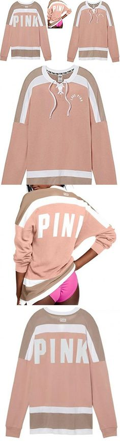 Victoria's Secret Pink NEW Oversize Lace Up Varsity Crew Ballet Pink (Medium). Victoria's Secret Pink NEW Oversize Lace Up Varsity Crew. Oversize,Long Sleeve. 60% Cotton 40% Polyester. Size Medium ,Ballet Pink. Tunic length #Apparel #SHIRT