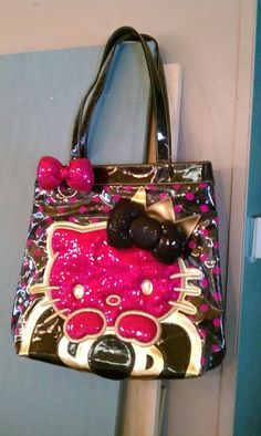 8668ad3881a6 Loungefly Hello Kitty Tote Bag Shoulder Bag Purse Lounge Fly Black Pink  Sequins