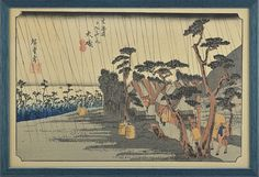 Utagawa Hiroshige (1797-1858)Oiso-juku, 8e station du tokaido, estampe en couleur, 24x37 cm