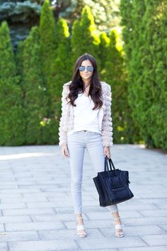 Jacket: Savvy | Tee: Caslon | Bottoms: Current Elliott | Wedges: Sole Society | Glasses: Ray-Ban | Bag: Celine (similar style, on sale!) | Lips: Turkish Delight by MAC