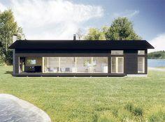 Sunhouse S315. Architect: Kalle Oikari. Compact House, Micro House, Exterior Design, Interior And Exterior, Cottage Design, House Design, Sun House, Prefabricated Houses, Steel House