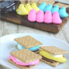 Smores....you could do thesebwith peeps from any holiday!  Would be cute to put some graham crackers, a chocolate bar, and seasonal peeps in a cello bag for a gift.