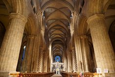 """Durham Cathedral interior. """"The nave vault of Durham Cathedral is the most significant architectural element of the Durham World Heritage Site because it marks a turning point in the history of architecture. The pointed arch was successfully used as a structural element for the first time here in this building"""""""