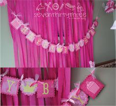 love the pink streamers for backdrop of table- Pinkalicious party theme for E...