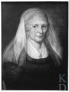 attributed to Theodorus Bohres Portret van Geertje Dethmers (Meeden - Midwolda 1856) 1800-1824 donkere japon, lichte fichu, kanten Groningse muts; speld op fichu. #Groningen