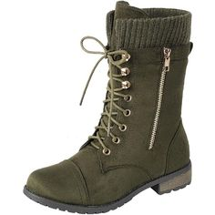 Women's Mata Shoes Womens Round Toe Military Lace Up Knit Low Heel... (€29) ❤ liked on Polyvore featuring shoes, boots, ankle booties, green, military boots, green booties, green boots, army boots and green combat boots