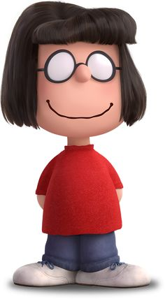 """Peppermint Patty's best friend, loyal follower, and complete opposite, Marcie is the smart one of the duo—even if she doesn't know the difference between baseball and hockey. She's horrible at sports, but terrific at friendship, especially with Charlie Brown (whom she calls """"Charles"""") and Peppermint Patty (whom she calls """"sir"""")."""