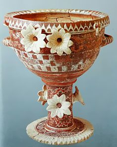 """Kamares krater/banquet vessel. From around 2700 to 1450 BC, the Minoan civilization flourished as a seafaring and mercantile culture. This vibrant culture was centred around the island of Crete and eventually dominated the Agean region. The Egyptians called the Minoans """"the Sea Peoples"""" and had a fond appreciation for Minoan pottery and ceramics, prized for their innovative shapes and sea-inspired designs."""