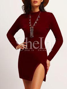 Shop Red Long Sleeve Lace Hem Slim Dress online. SheIn offers Red Long Sleeve…