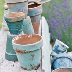 distressed pots for herbs