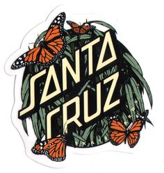 Santa Cruz Skateboard / Surf Sticker - butterflys surfing skating skate board: Amazon.co.uk: Car & Motorbike