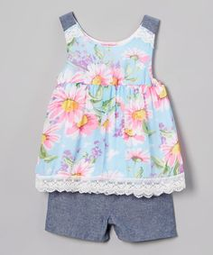 Look at this Girls Luv Pink Blue Floral Tank & Shorts - Toddler on #zulily today!