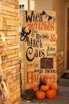 Witches black cats spider halloween fall pallet calendar decor