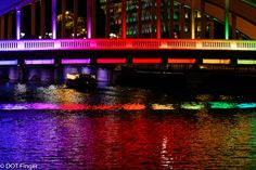 15th of January - Singapore: Rainbow colors on a bridge as a symbol of this energetic asiatic city