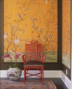 Orange Chinoiserie wallpaper panels, red pagoda chair, old rug - Interior design by: Schuyler Samperton Framed Wallpaper, Chinoiserie Wallpaper, Wallpaper Panels, Gracie Wallpaper, Chinoiserie Fabric, Chinoiserie Elegante, Asian Interior, Stylish Interior, Modern Interior
