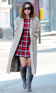 For sound style advice, you can always count on Myleene Klass. Her autumnal work outfit: plaid mini dress, trench coat and over-the-knee boots is stylishly autumnal. #newlook #fashion