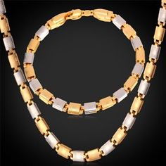 """Multi-tone Gold Necklace Set With """"18K"""" Stamp Real Gold Plated Unisex Jewelry Wholesale Necklace Bracelet Party Jewelry Set"""