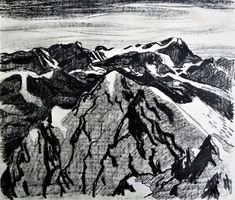 Galerie 5d: Fred Stauffer - Blick auf das Wellhorn (1945) Ferdinand, Mount Everest, In This Moment, Mountains, Nature, Travel, Painting, Art, Charcoal Sketch