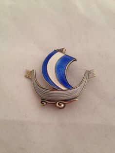 Norwegian Norway AKSEL HOLMSEN 925S Enamel Blue White Viking Ship Pin c1968 by UpcycledUpstyled on Etsy https://www.etsy.com/listing/179258133/norwegian-norway-aksel-holmsen-925s