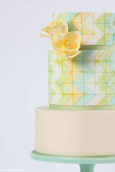 Green and yellow Geometric pastel cake inspo