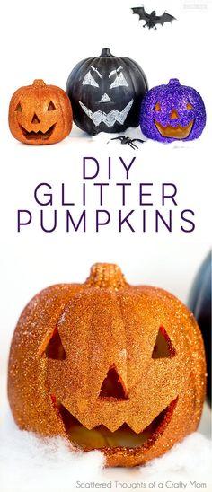 Decoupage - DIY Glitter Pumpkin Pumpkin Carving  Pumpkin - how to make pumpkin decorations for halloween