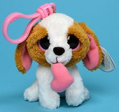 Cookie (2012, tan and white key-clip) - dog - Ty Beanie Boos