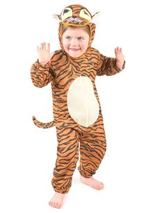 Disfraz de tigre para niño o niña: Disfraz de tigre para niño o niña compuesto por: una combinación atigrada con círculo blanco en el vientre; un pasamontañas con velcro, ojos, hocico y bigotes; y...