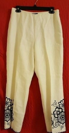 Ann Taylor White Linen Pants with Black Embroidery Decoration - Size 10