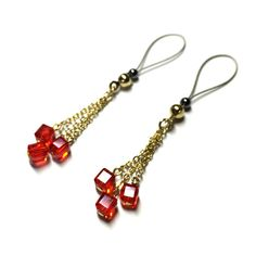 Nipple Jewelry  14k Gold Fringe Red Crystal Cubes  by BoDivas