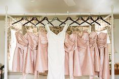 Blush Silk Bridesmaids Dresses | Audrey Rose Photography | http://heyweddinglady.com/playful-elegant-southern-blush-wedding-floral-print/