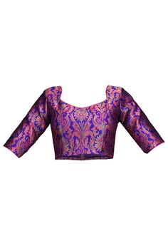 Buy Zari Woven Brocade Blouse in Purple and Pink online, work: Woven, color: Pink / Purple, usage: Party, category: Ethnic Essentials, fabric: Brocade, price: $56.46, item code: UAM56, gender: women, brand: Utsav