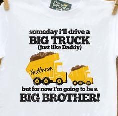 Hunter's Big Brother shirt? dump truck big brother announcement t-shirt. $16.50, via Etsy.